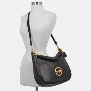 NEW COACH Black Pebble Leather Elle Hobo Bag F3140